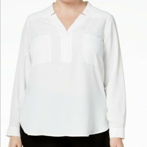 NINE WEST  NOTCHED COLLAR  LONG SLEEVE BLOUSE